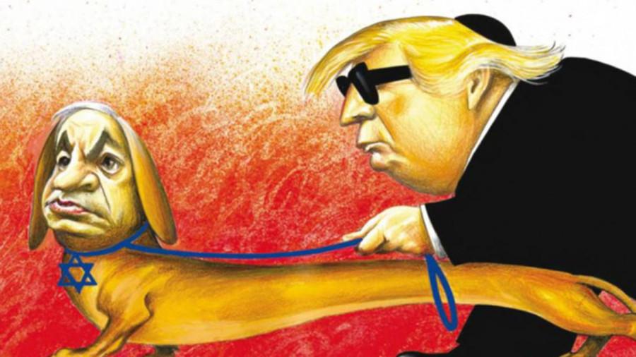 The New York Times (April 2019) - Die Karikatur zeigt den israelischen Regierungschef Benjamin Netanjahu als Blindenhund, der US-Präsident Donald Trump führt.