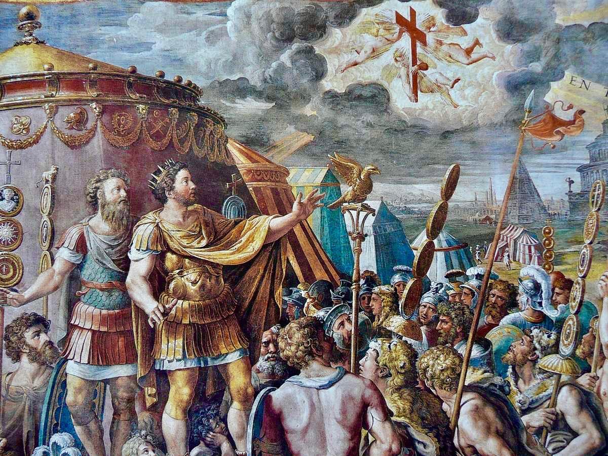 Die Vision des Kreuzes von Kaiser Konstantin vor der Schlacht gegen Maxentius - Vatican Museum
