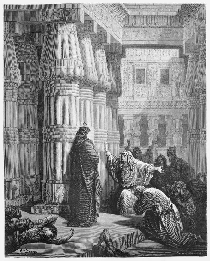 Pharao befiehlt Moses, die Israeliten aus Ägypten herauszuführen - Bild aus der 1885 veröffentlichten Büchersammlung der Heiligen Schriften von Gustave Dore.
